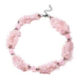 Rose Quartz Necklace (Size 18 with 2 inch Extender) in Silver Tone