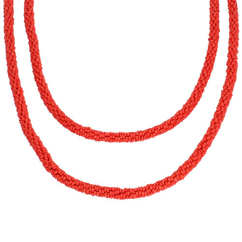 New Arrival- Endless Bead Necklace (Size 58) - Ruby Colour