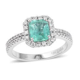 ILIANA 18K White Gold AAAA Boyaca Colombian Emerald (Oct), Diamond (SI/G-H) Ring 1.780 Ct.