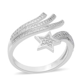 ELANZA Simulated Diamond Shooting Star Ring in Rhodium Overlay Sterling Silver, Silver wt 3.32 Gms
