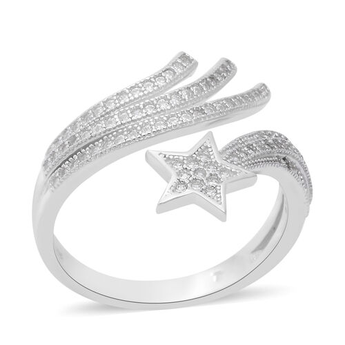 ELANZA Simulated Diamond Shooting Star Charm Ring in Rhodium Plated Sterling Silver