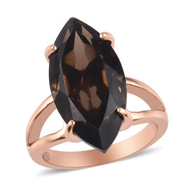 Smoky Quartz Marquise Solitaire Ring in Bronze Tone 10.50  Ct.