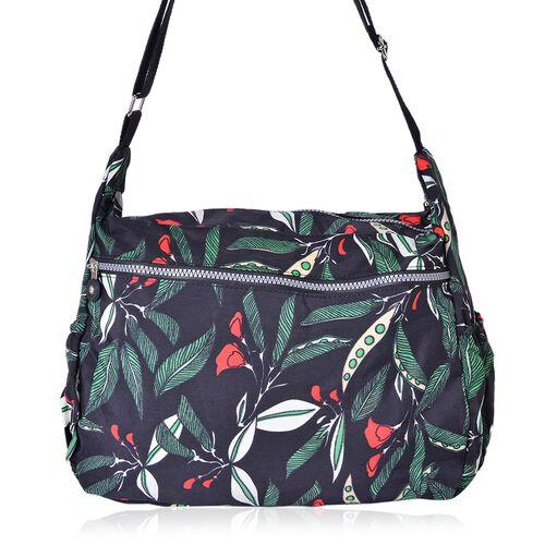 Tropical Pattern Multi Pocket Waterproof Sport Bag with Adjustable Shoulder Strap (Size 32X27X11.5 Cm)
