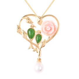 Jardin Collection - Pink Mother of Pearl, Freshwater Pearl and Green Jade Floral Heart Pendant with