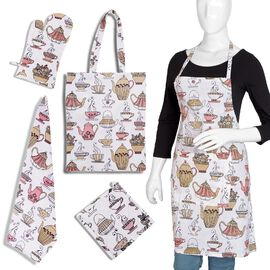 5 Piece Set - 100% Cotton Screen Printed Apron (65x100 Cm), Pot Holder (20x20 Cm), Glove (18x32 Cm),