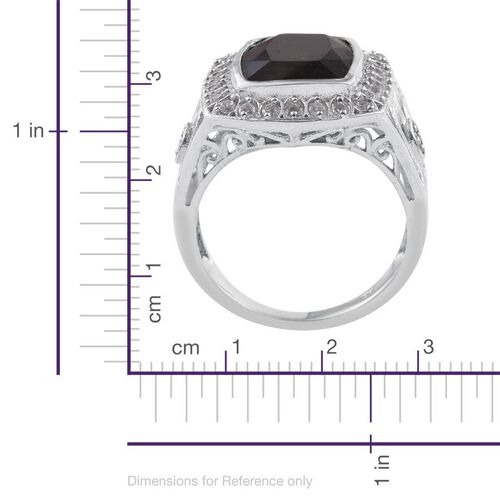 Natural Zawadi Golden Sheen Sapphire (Cush 10.00 Ct), Natural Cambodian Zircon Ring in Platinum Overlay Sterling Silver 10.500 Ct. Silver wt 5.60 Gms.