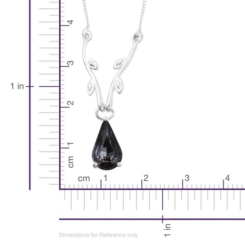 J Francis Crystal from Swarovski - Silver Night Crystal (Pear) Necklace (Size 18) in Platinum Overlay Sterling Silver