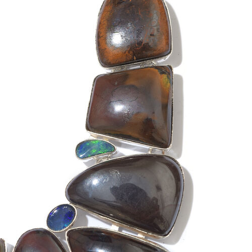 One Off A Kind- Boulder Opal Rock and Opal Double Necklace (Size 18 with 1 inch Extender) in Sterling Silver 229.150 Ct. Silver wt. 27.47 Gms.