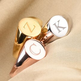 Personalise Engraved Initial Oval Signet Ring
