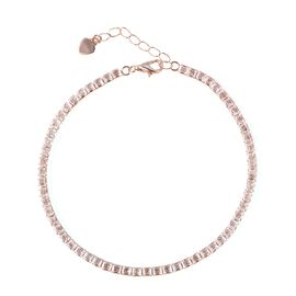 ELANZA AAA Simulated Diamond (Princess Cut) )Bracelet (Size 7.25 with 1 inch Extender) in Rose Gold