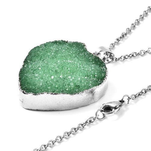 2 Piece Set -  Green Druzy Quartz Heart Stud Earrings (with Push Back) and Heart Pendant with Chain (Size 20) in Silver Tone