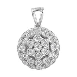 Diamond (Rnd) Pendant in Platinum Overlay Sterling Silver 0.250 Ct.