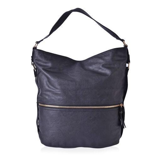 Designer Inspired Black Colour Hobo Bag with External Zipper Pocket (Size 36x30x16.5 Cm)