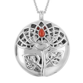 RACHEL GALLEY Red Coral (Pear) Lotus Pendant With Chain (Size 30) in Rhodium Overlay Sterling Silver