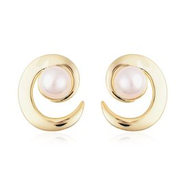 LucyQ Freshwater White Pearl (Rnd 8-9 mm) Earrings (with Push Back) in Yellow Gold Overlay Sterling