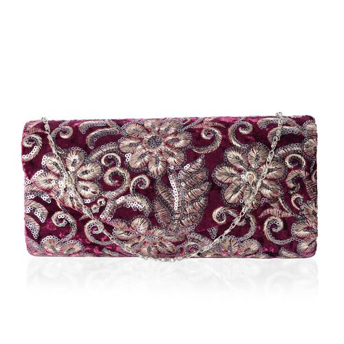 Luxury Burgundy Brocade Embroidery with Sparkling Sequin Embellished Large Clutch (Size 23x10.5x5.5