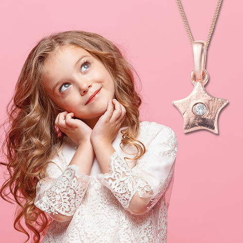 Star Pendant for Kids with Zircon in Rose Gold Plated Silver