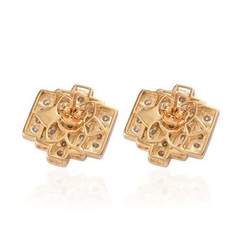 J Francis - 14K Gold Overlay Sterling Silver (Rnd) Earrings Made with SWAROVSKI ZIRCONIA