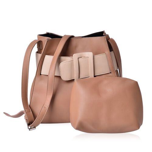 Set of 2 - Tan and Cream Colour Large Handbag with Adjustable Shoulder Strap and Small Handbag (Size 28x25x12.5 Cm, 17.5x15x7.5 Cm)