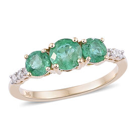 1.1 Ct AAA Zambian Emerald and Diamond 3 Stone Ring in 9K Gold 1.49 Grams