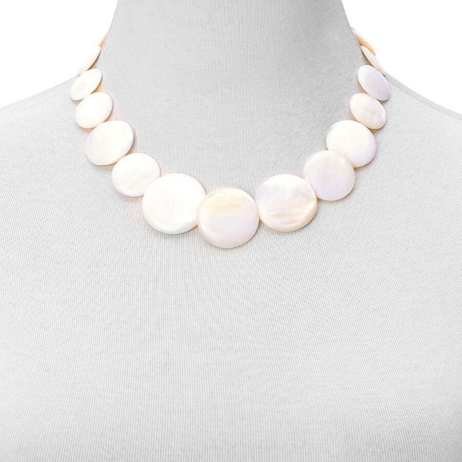 White Shell Coin Necklace Size 21 With Extender