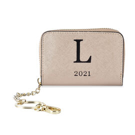 Genuine Leather Alphabet L Wallet with Engraved Message on Back Side (Size 11X7.5X2.5 Cm) - Gold