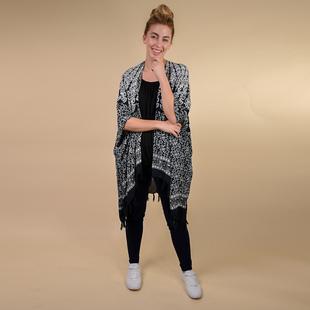 TAMSY 100% Rayon Floral Printed Kimono, One Size ( Fits 8-20 )  - Black & White