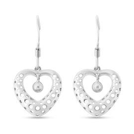 Rhodium Overlay Sterling Silver Fish Hook Earrings