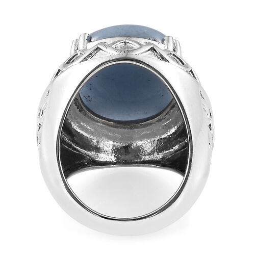 Mexican Angelite (Ovl) Ring in Ion Plated Stainless Steel 17.500 Ct.