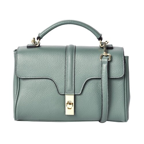 Sencillez 100% Genuine Leather Convertible Bag with Flap Lock in Green