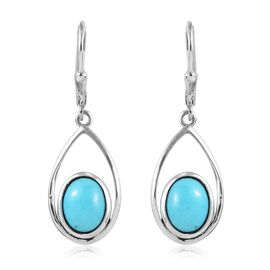 AA Arizona Sleeping Beauty Turquoise (Ovl) Drop Lever Back Earrings in Platinum Overlay Sterling Sil