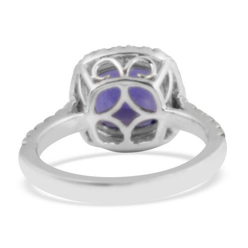 RHAPSODY 950 Platinum AAAA Tanzanite and Diamond (VS/E-F) Ring 4.85 Ct, Platinum wt 6.57 Gms