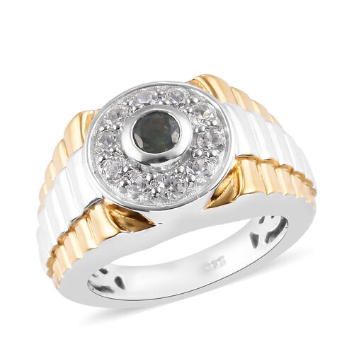 Narsipatnam Alexandrite and Natural Cambodian Zircon Ring in Platinum and Yellow Gold Overlay Sterli