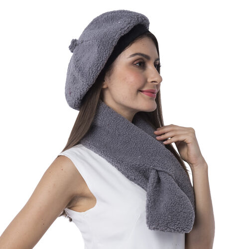 Super Soft Sherpa Style Beret Hat and Scarf Set - (Scarf:13x92cm) (Hat:One Size) - Grey