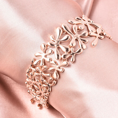 LucyQ Splash Bracelet (Size 7.5) in Rose Gold Overlay Sterling Silver, Silver wt 42.19 Gms