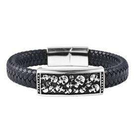 Genuine Leather Black Oxidised Bracelet (Size 7.5)