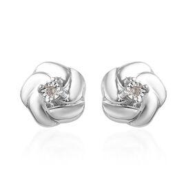Children Diamond Floral Earrings in Sterling Silver