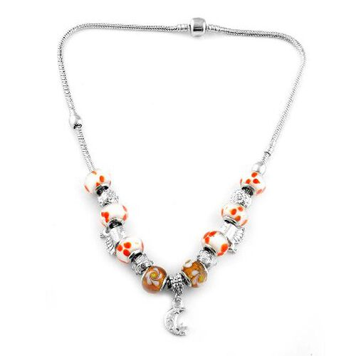 Funky Glass Necklace (Size 18) in Silver Tone