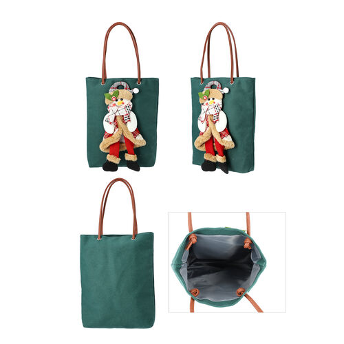 Christmas Collection - 3D Snowman Tote Bag - Size 26x32cm - Green