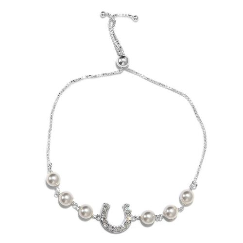 J Francis - Crystal from Swarovski White Pearl Crystal and White Colour Crystal Adjustable Bracelet