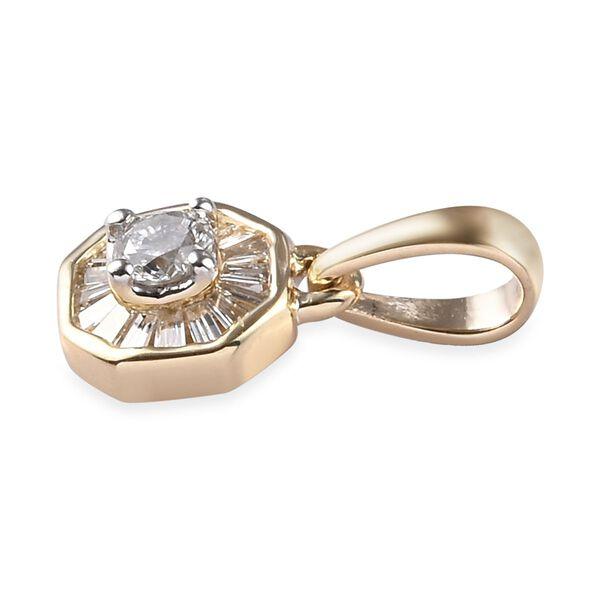 9K Yellow Gold SGL Certified Diamond (I3/G-H) Pendant 0.25 Ct.