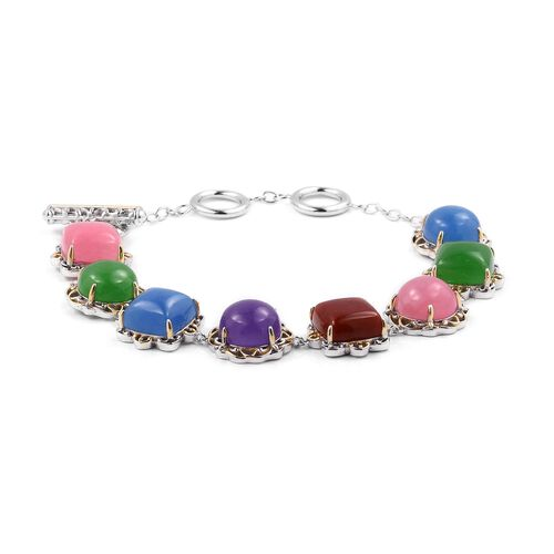 Multi Colour Jade (Cush and Rnd) Bracelet (Size 8) in Yellow Gold and Rhodium Overlay Sterling Silver 43.250 Ct, Silver wt 13.12 Gms.