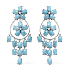 34.75 Ct Larimar and Cambodian Zircon Floral Drop Earrings in Sterling Silver 16 Grams