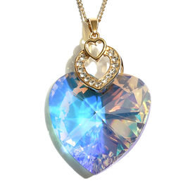 J Francis - Crystal From Swarovski AB Crystal (Hrt 40 mm) Pendant With Chain (Size 30) in Gold  Overlay Sterling Silver, Silver wt 10.20 Gms.