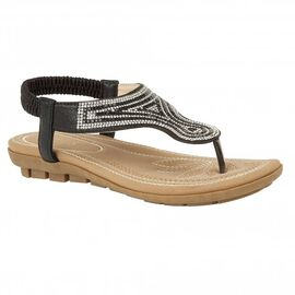 Lotus Black Delia Flat Toe-Post Sandals