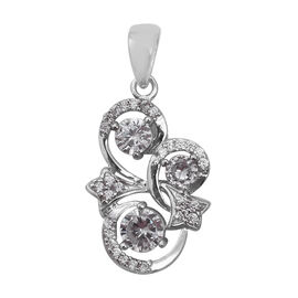 Simulated Diamond Swirl Pendant in Rhodium Plated Sterling Silver