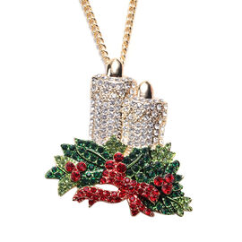 3 Piece Set Multi Colour Austrian Crystal Enamelled Candle Pendant with Chain, Brooch and Charm in G