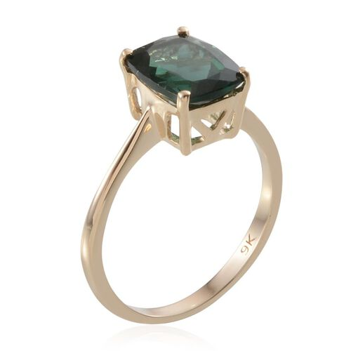 9K Y Gold Ocean Blue Apatite (Cush) Solitaire Ring 3.000 Ct.