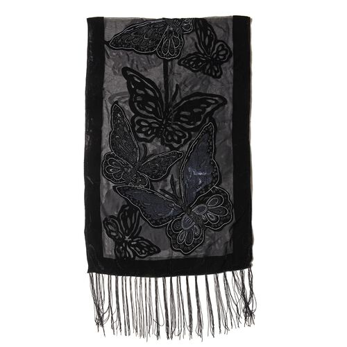Black and Grey Colour Butterfly Pattern Scarf (Size 160x52 Cm)