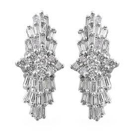 RHAPSODY 950 Platinum IGI Certified Diamond (Bgt and Rnd) (VS / E-F) Earrings (with Screw Back) 0.50